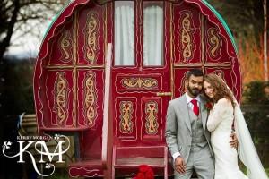 Romany gypsy caravan wedding south farm