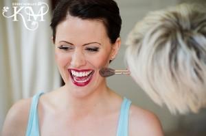 Bride with red lipstick at Ardington House wedding