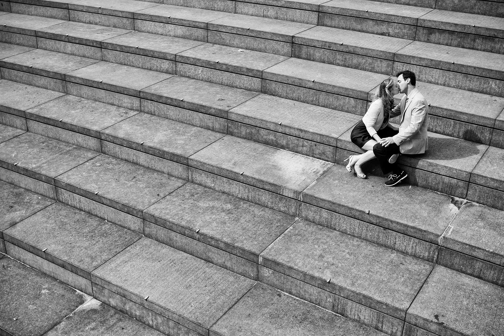 engagement photos on steps in London