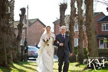 bride arrives at St Nicholas C of E Church St Great Wilbraham
