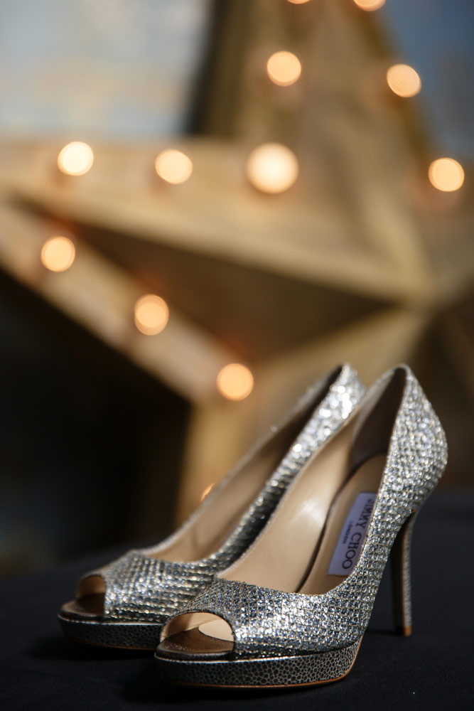 jimmy choo shoes at MC Motors wedding