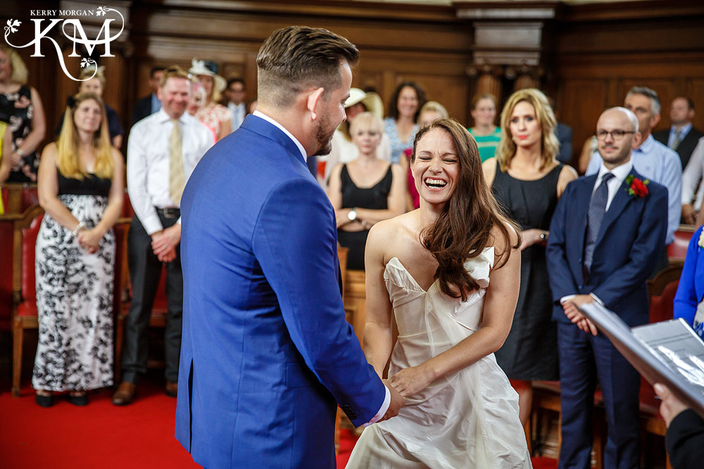 Islington Registry Office Wedding bride laughing
