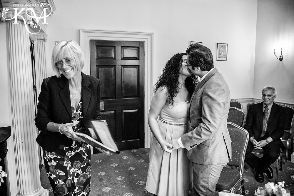 wedding kiss at Merton Register Office