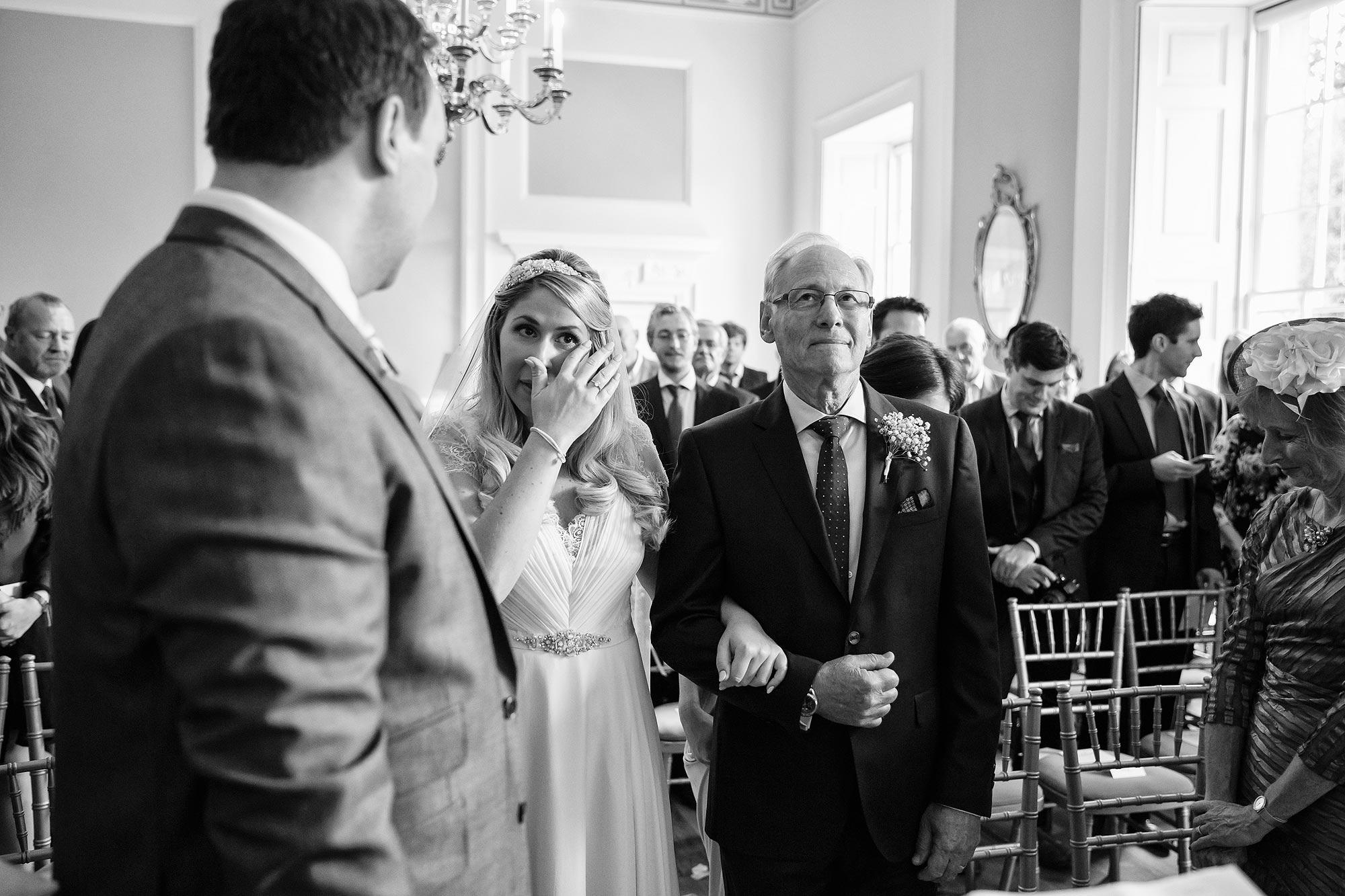 bride crying wedding ceremony botleys mansion