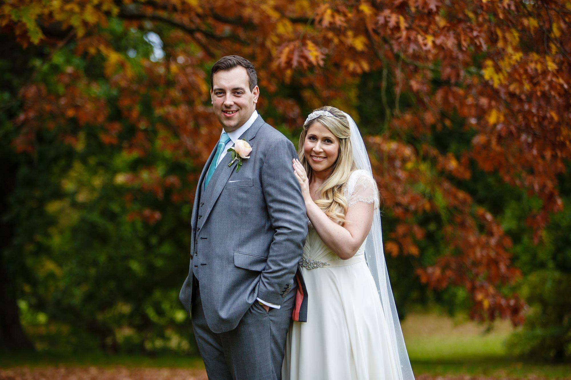 Autumn wedding at Botleys Mansion autumn colours