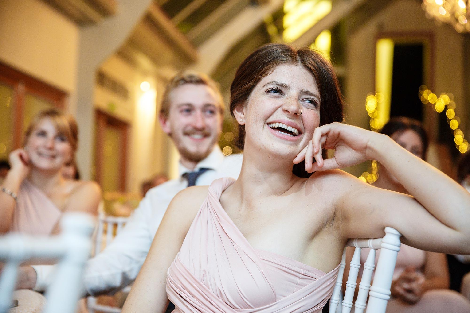 bridesmaids laughing at Botleys Mansion Wedding