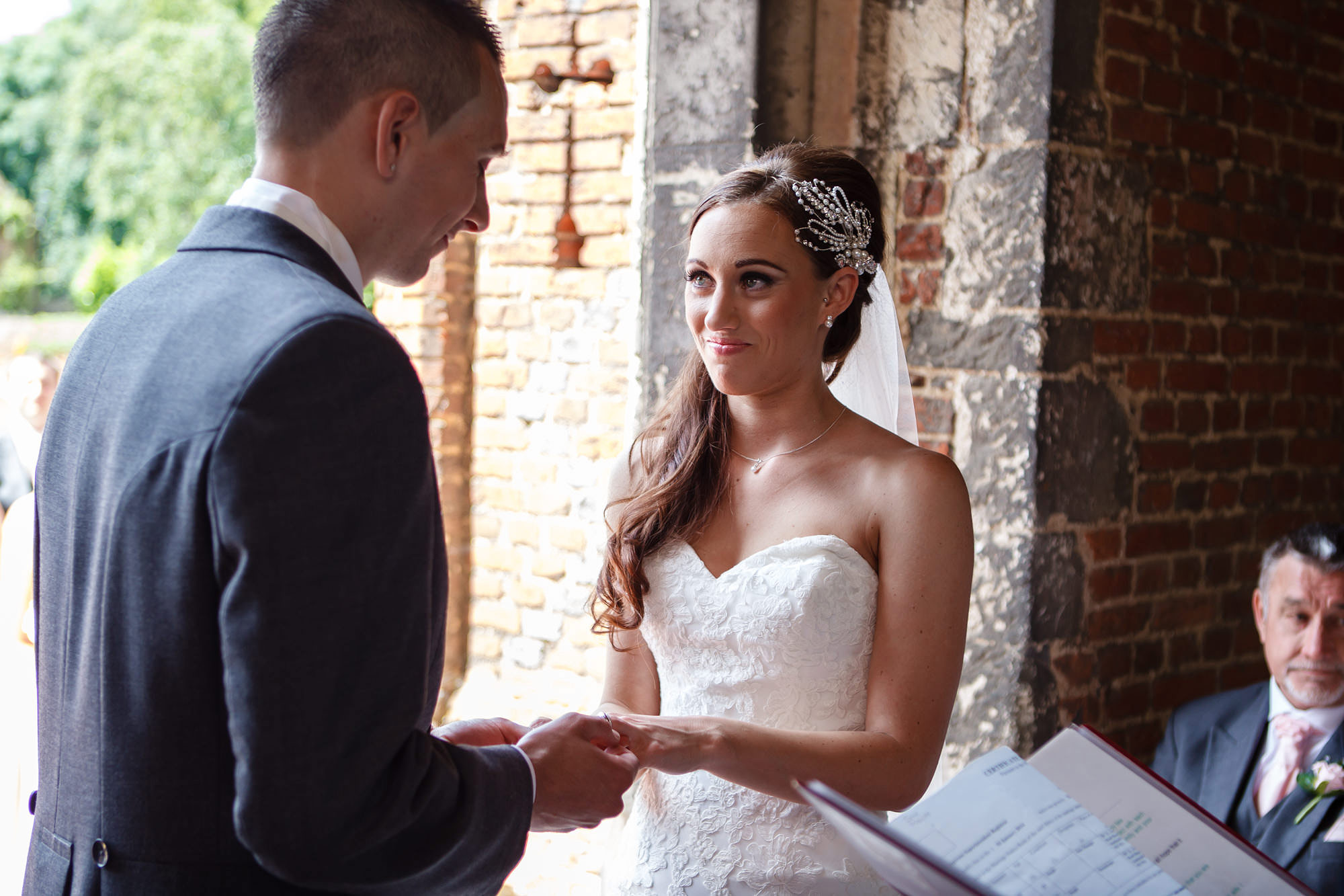 exchange of vows Leez Priory Wedding