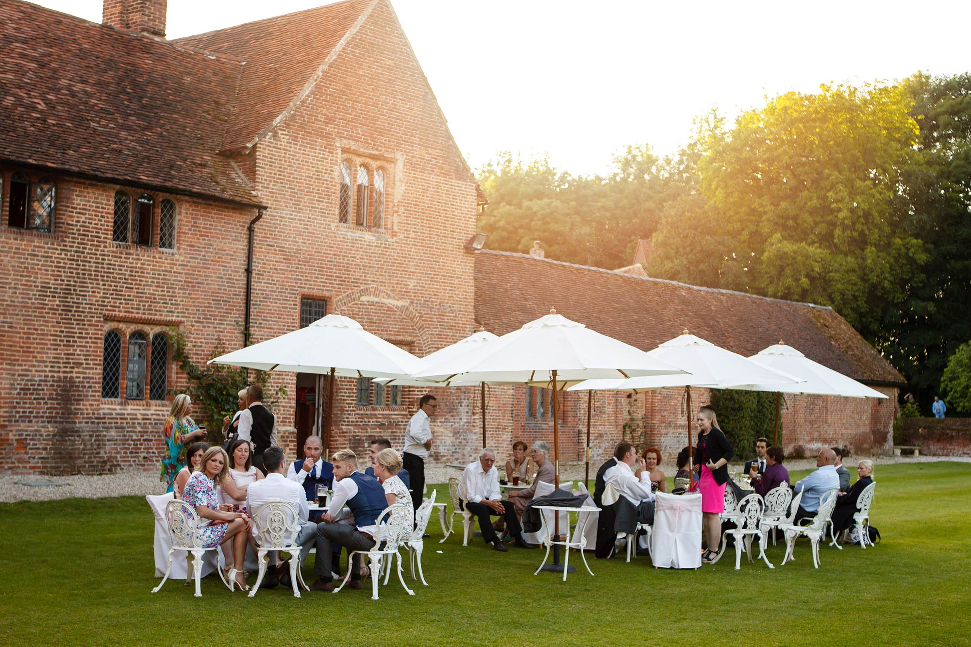 outdoor drinks at Leez Priory Wedding