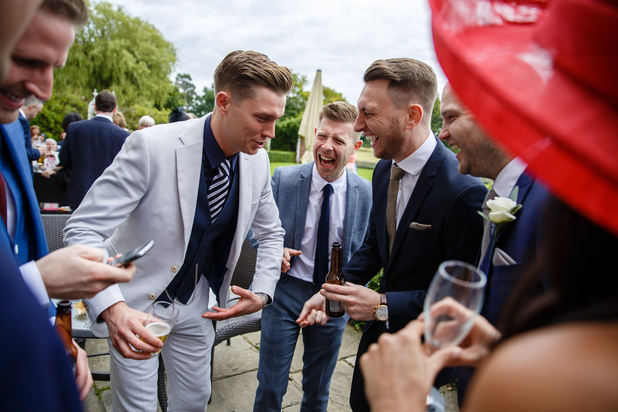 boys laughing at parklands wedding