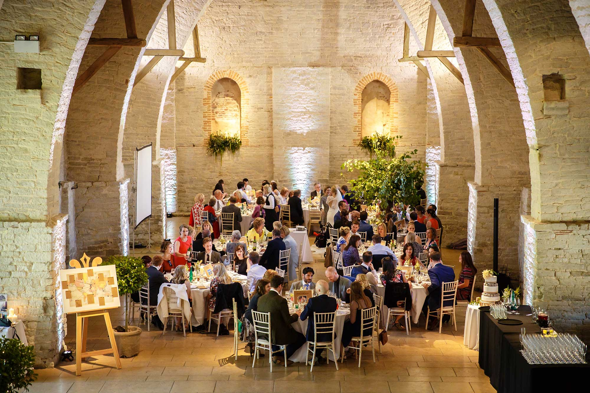 wedding breakfast at The Tithe Barn Petersfield Hampshire