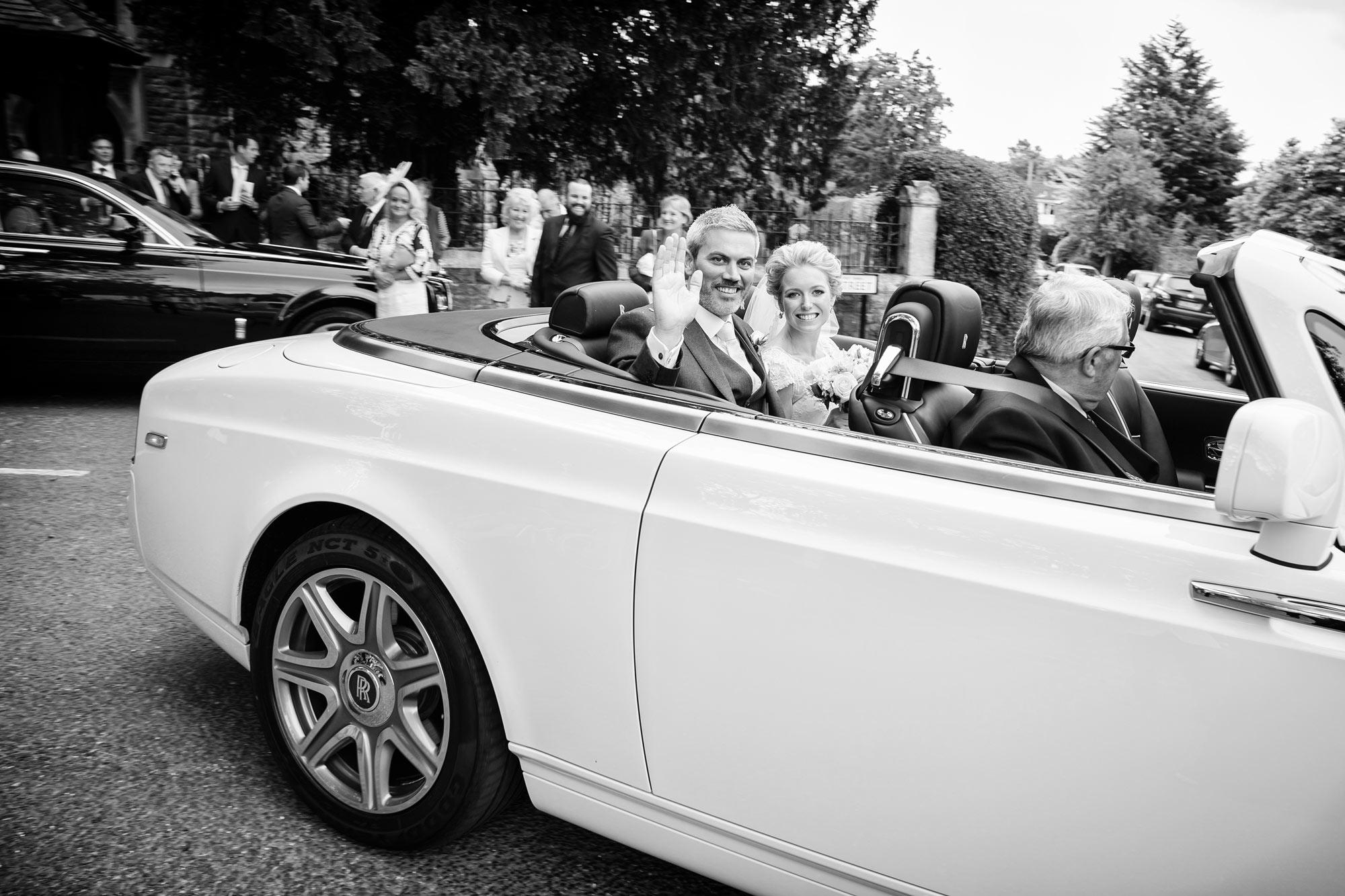 rolls royce wedding car white