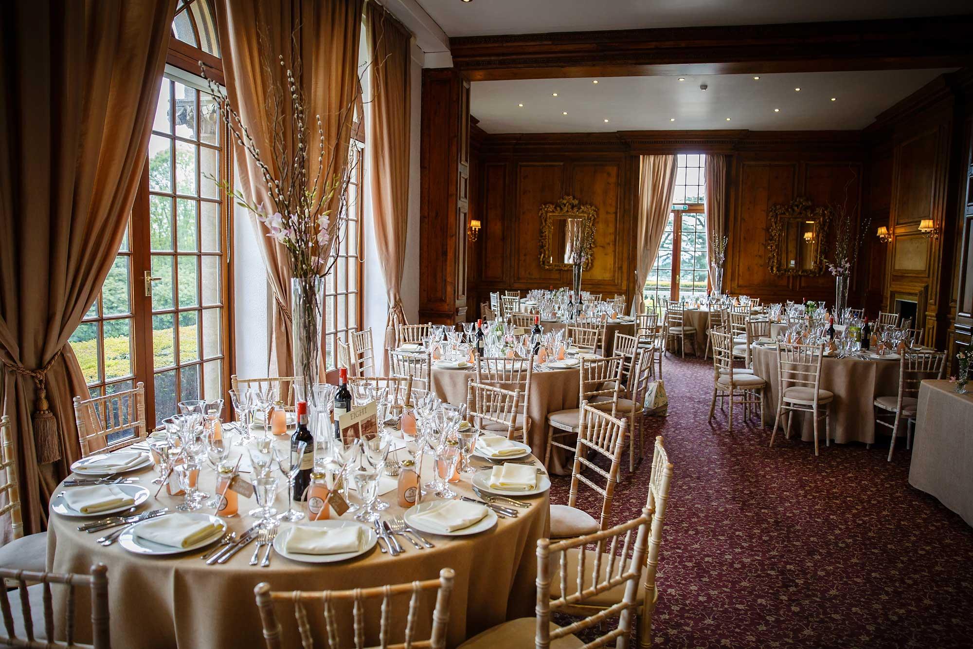 tables set up hedsor house wedding