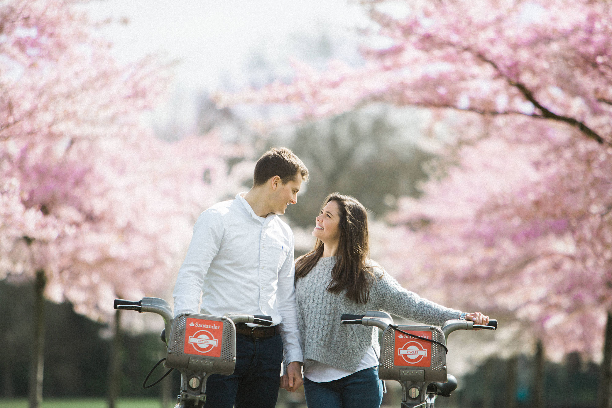 cherry blossom engagement photography