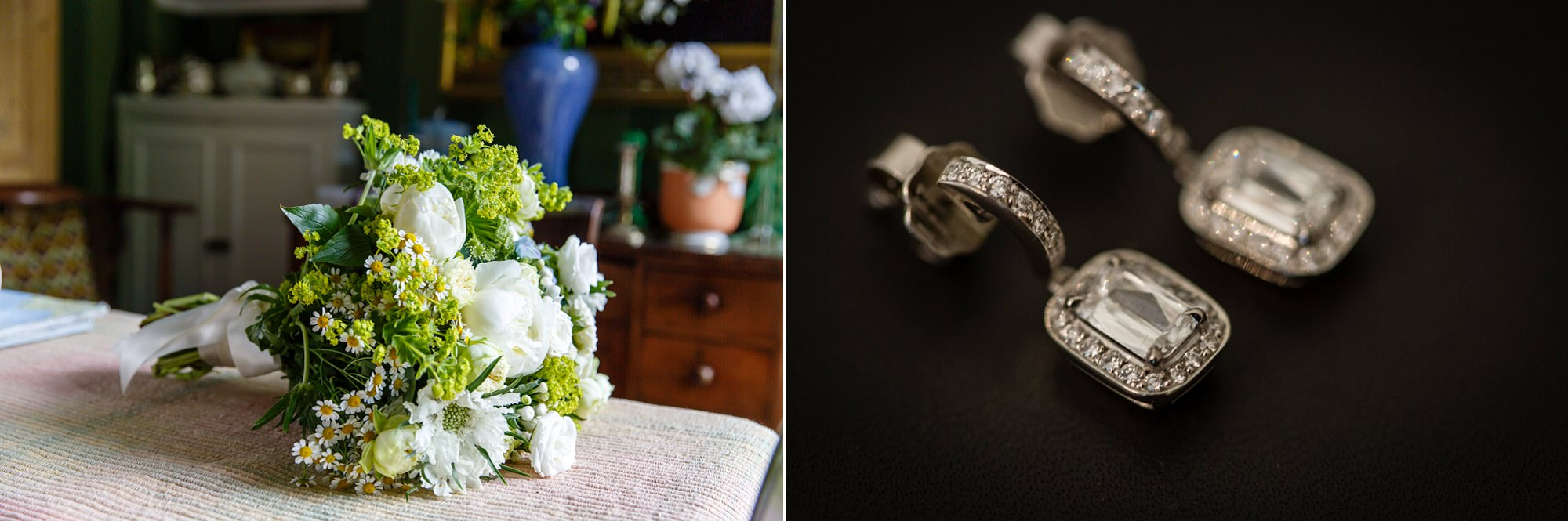 The brides bouquet and earrings ready for her Fulham Palace Wedding