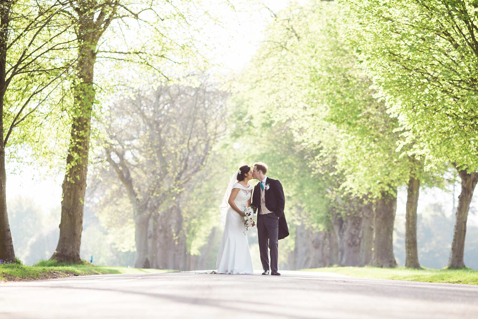 Wedding portraits at Goodwood House Avenue of trees