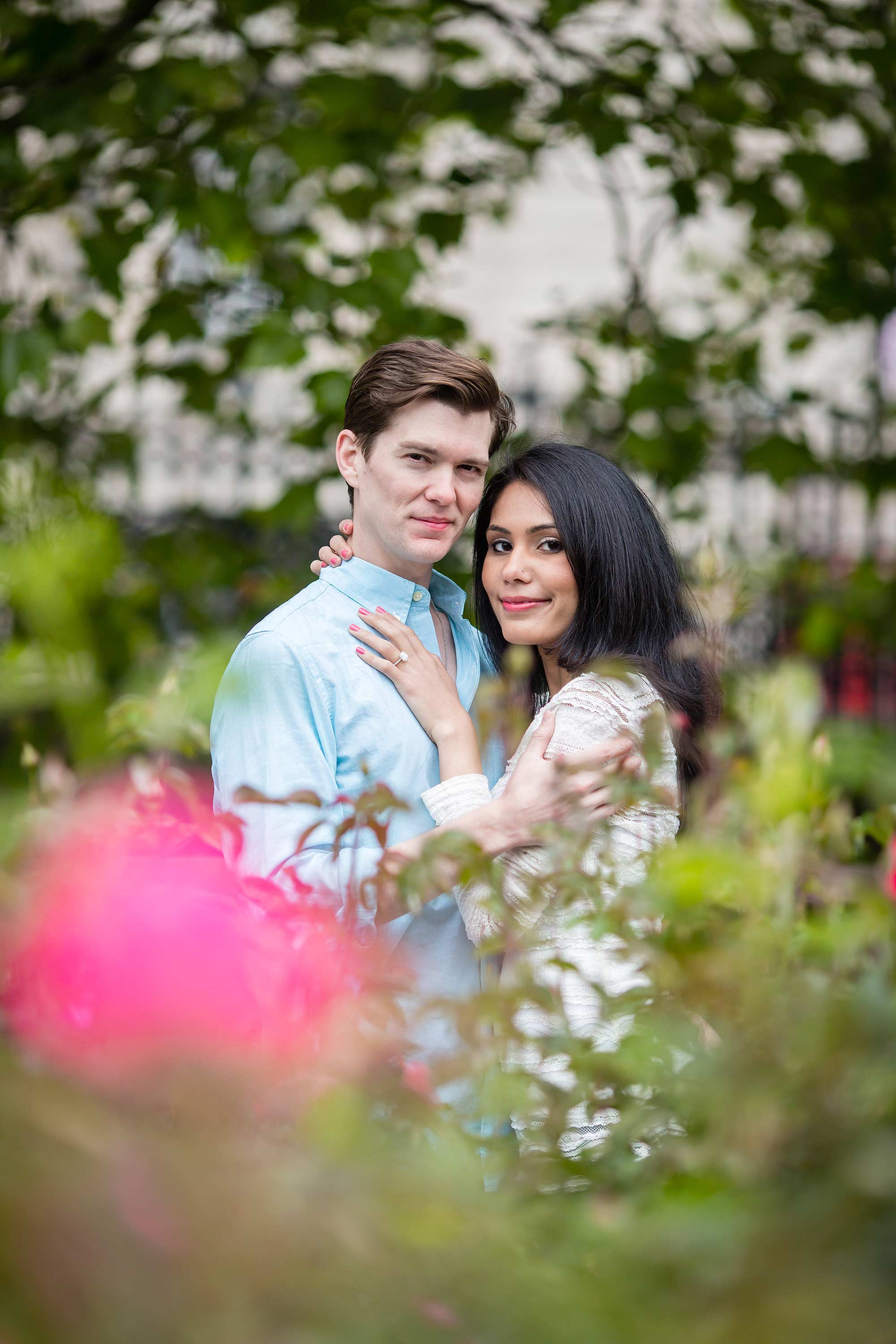 Couple on London Engagement Shoot in park