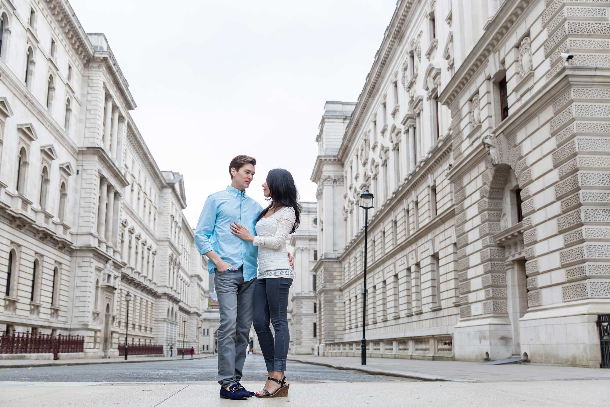 A quiet London street for an engagement shoot