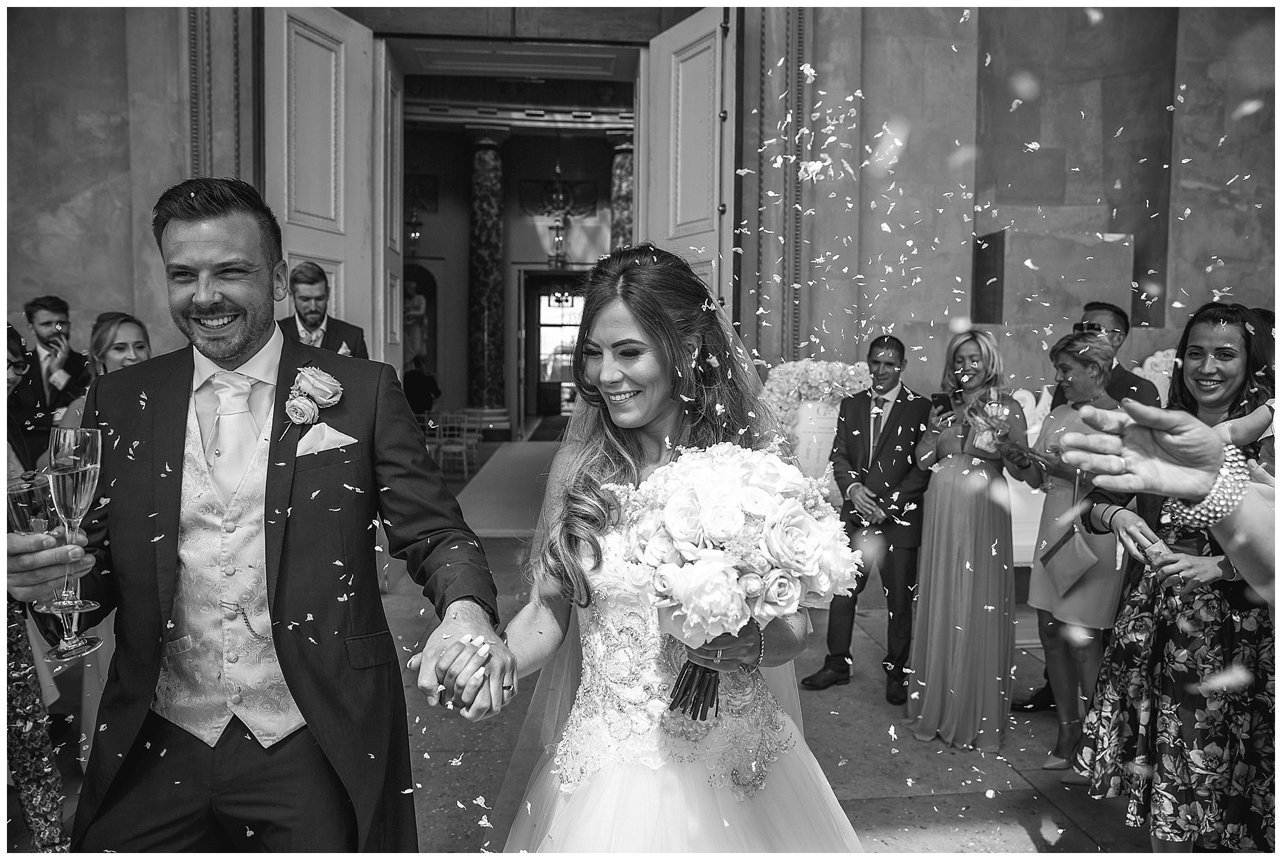 Stowe House Wedding photography with confetti
