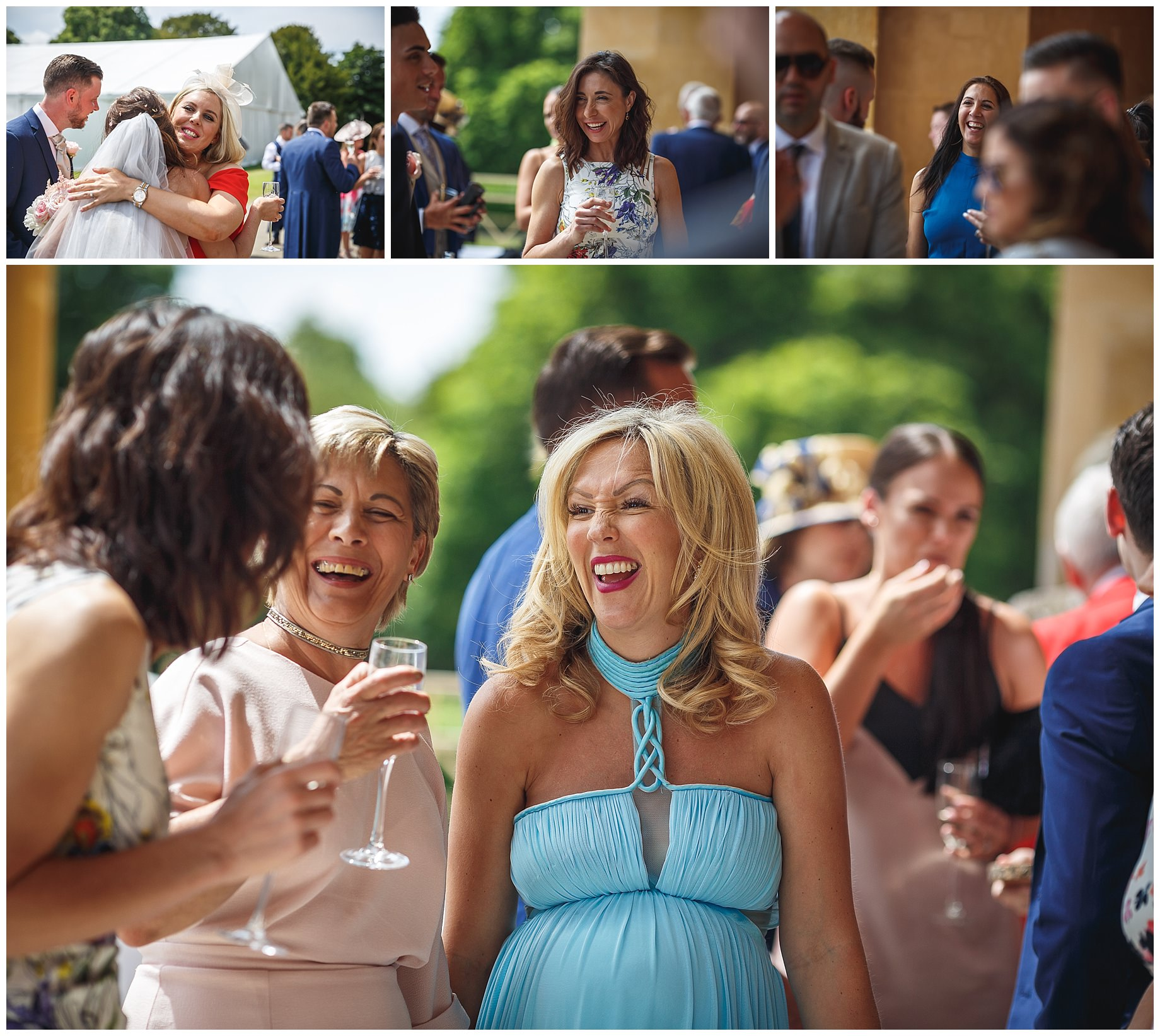 guests laughing at Stowe House Wedding