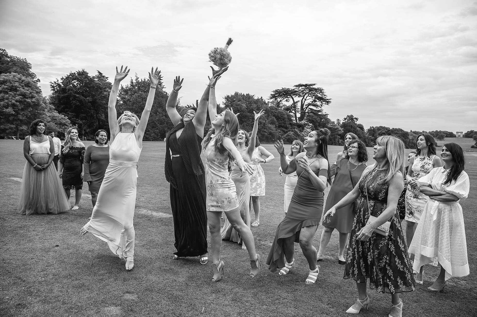 bouquet toss at Stowe House Wedding