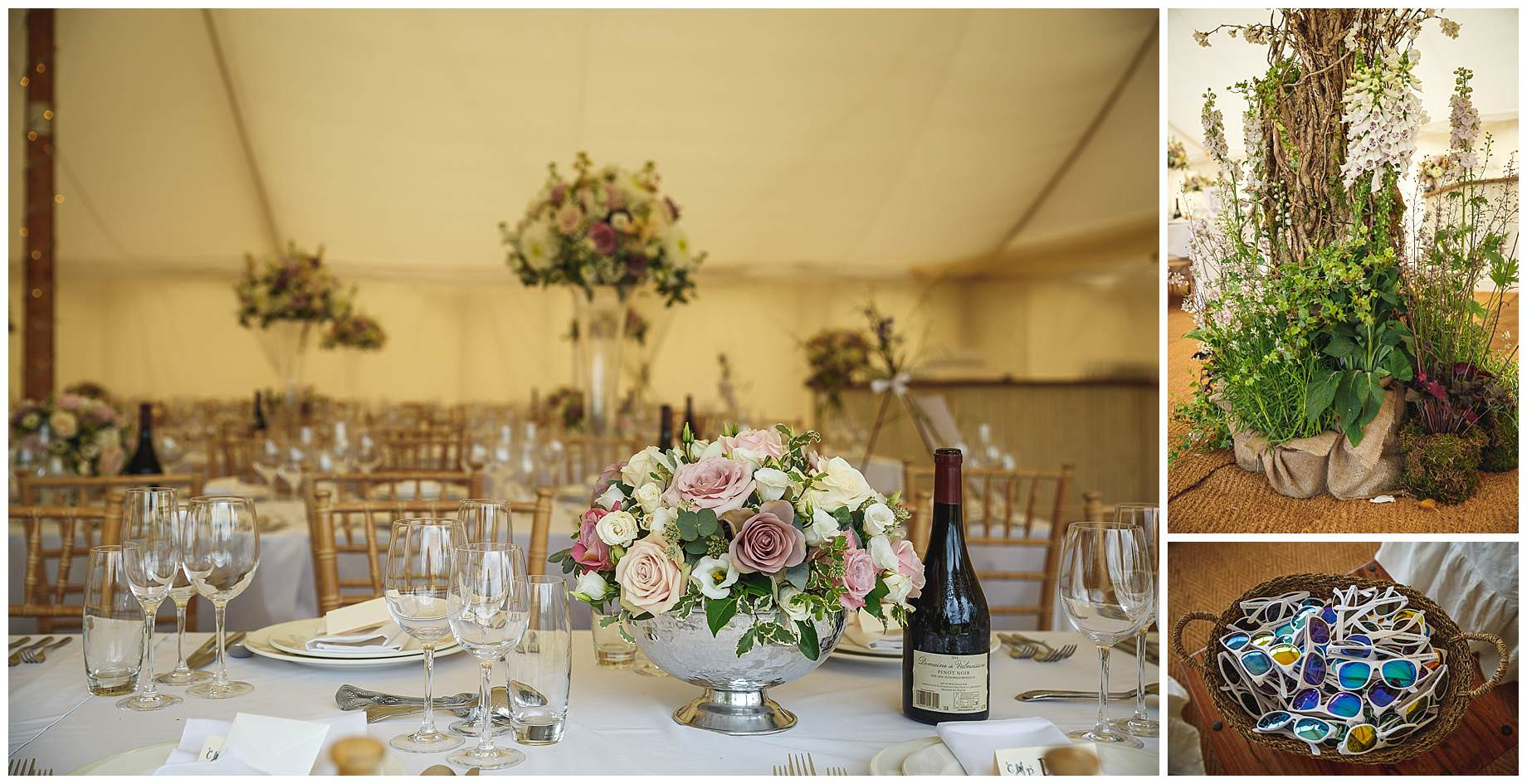 table decorations at Goodnestone Park Wedding