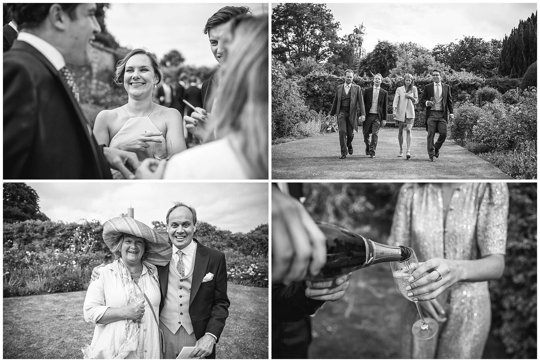 four black and white images of guests having a great time at charlotte and Piers's wedding