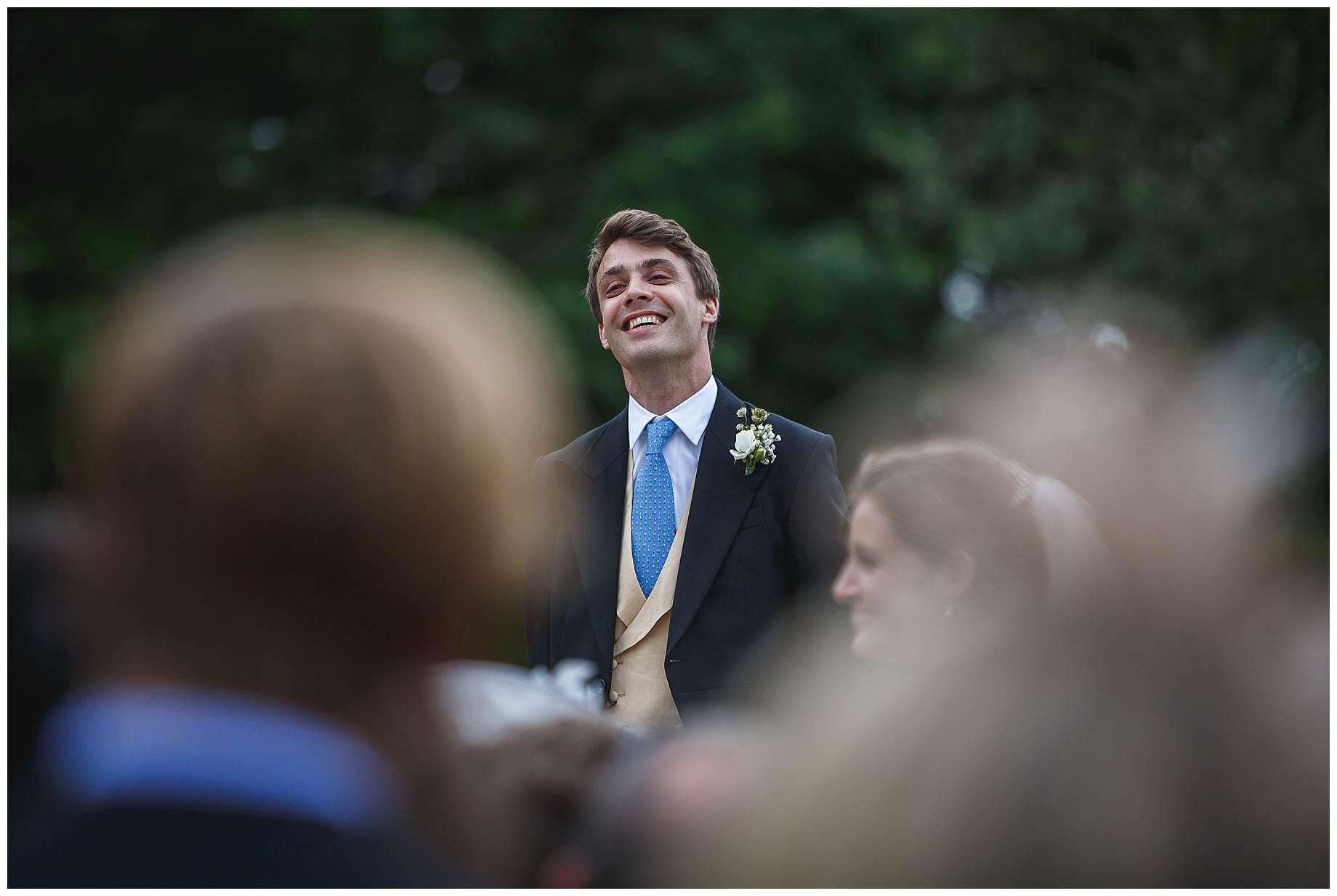 the groom at Goodnestone Park Wedding