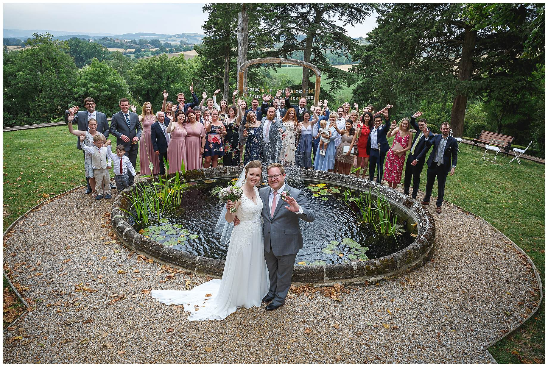 All wedding guests at Chateau Brametourte Wedding