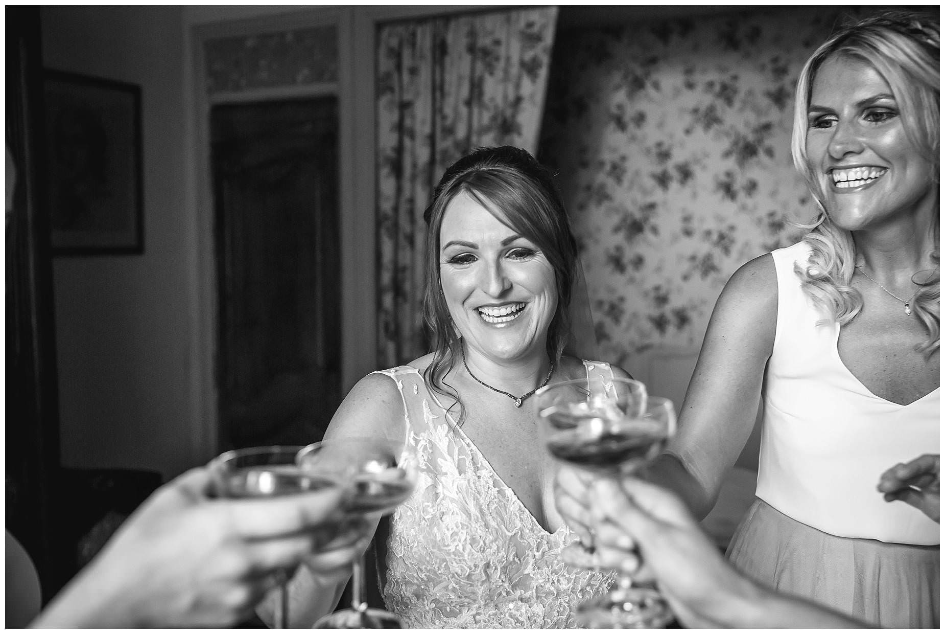 champagne toasts in black and white