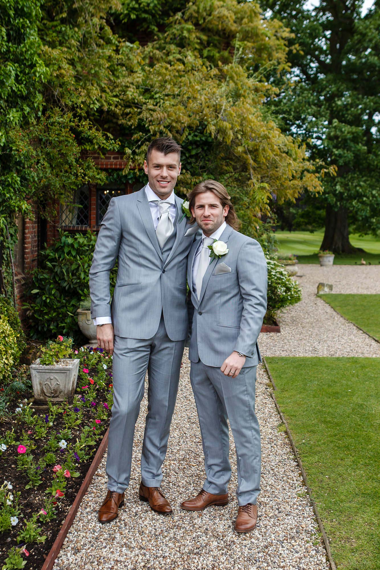 groom and best man at Leez Priory