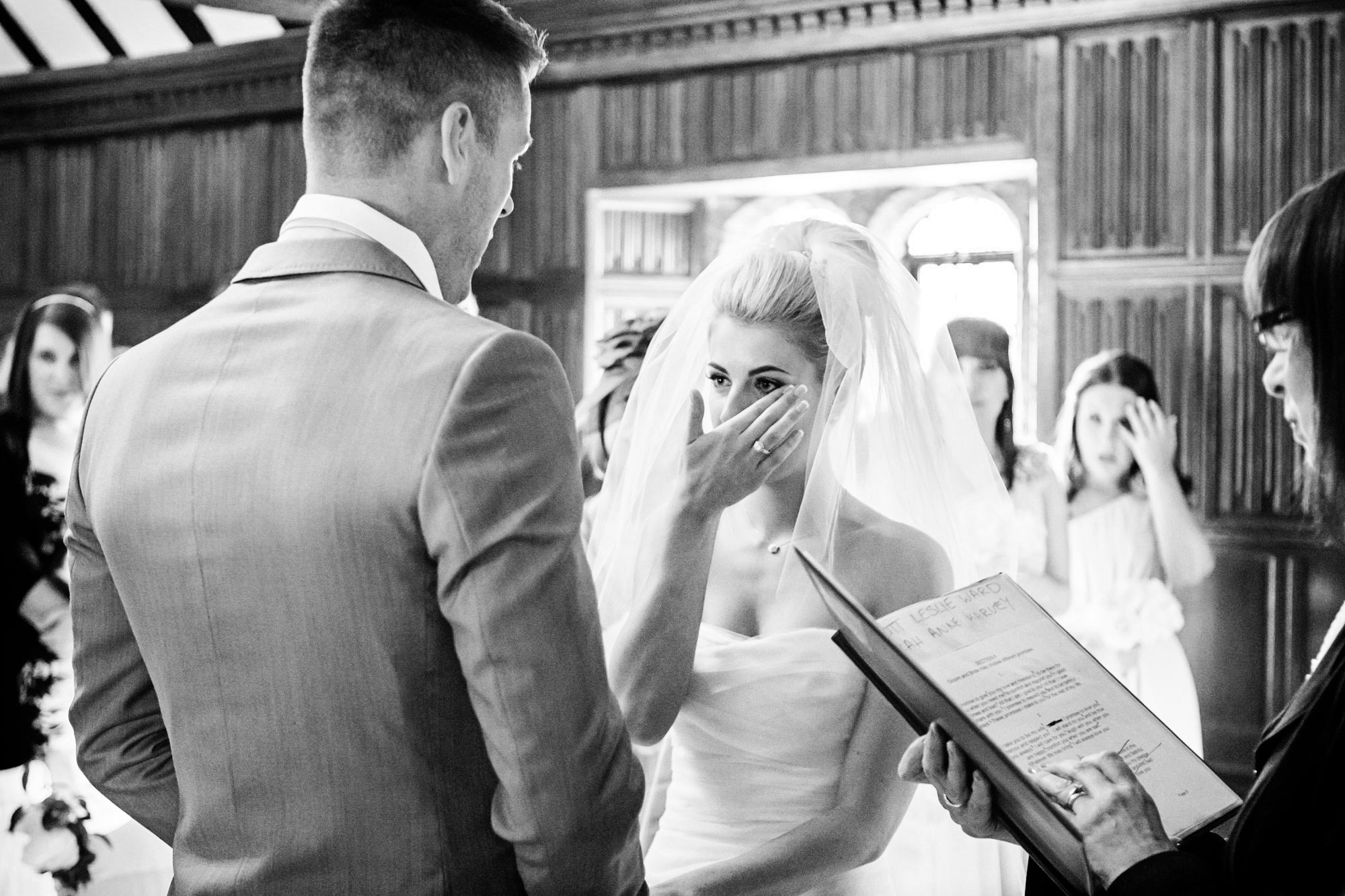 bride crying at Leez Priory wedding