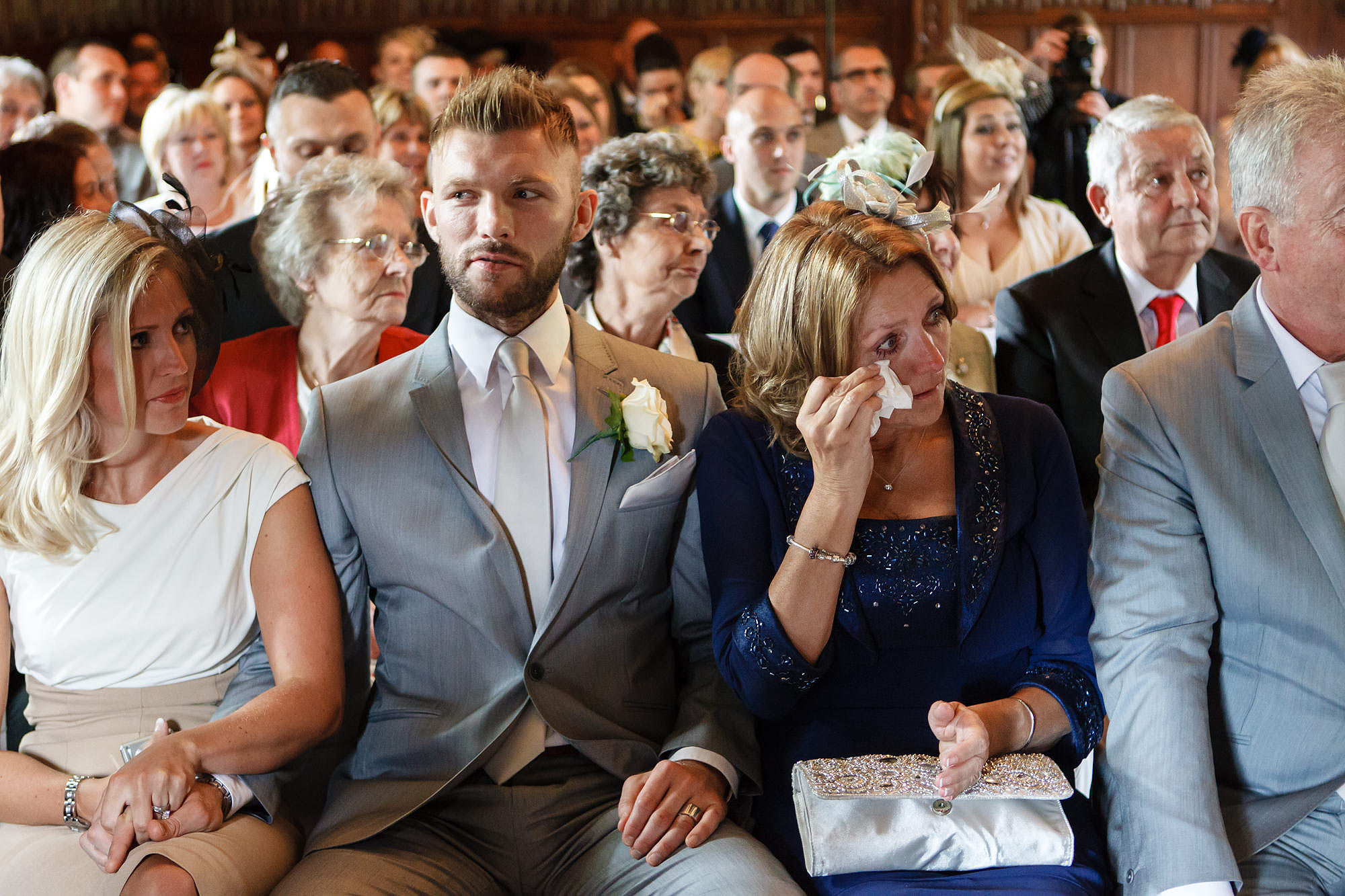 mother crying at leez priory wedding