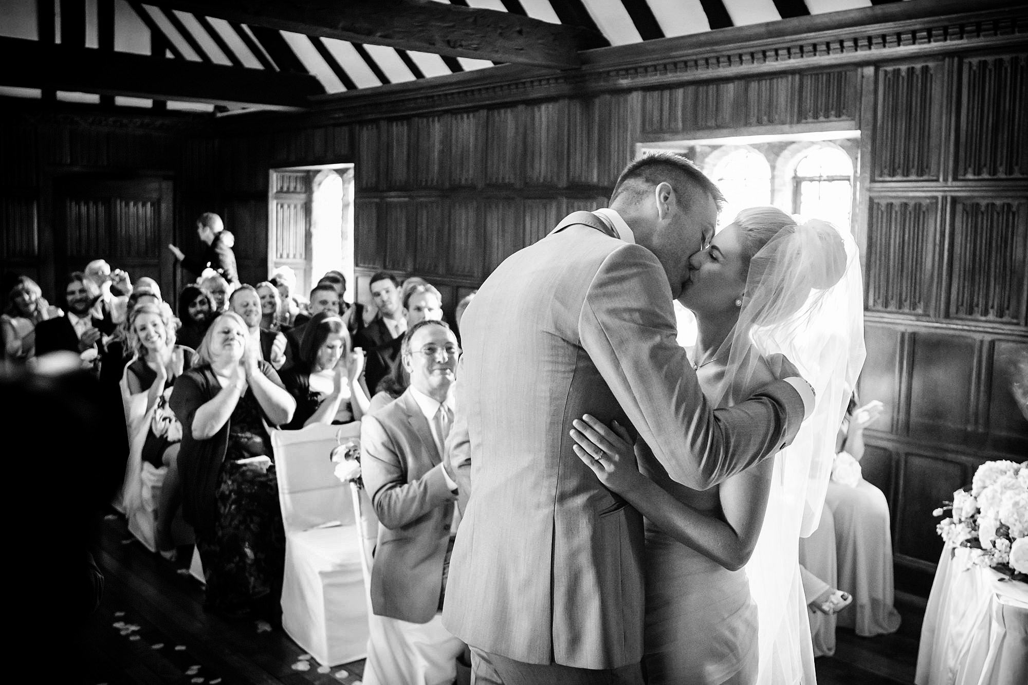 first kiss leez priory wedding