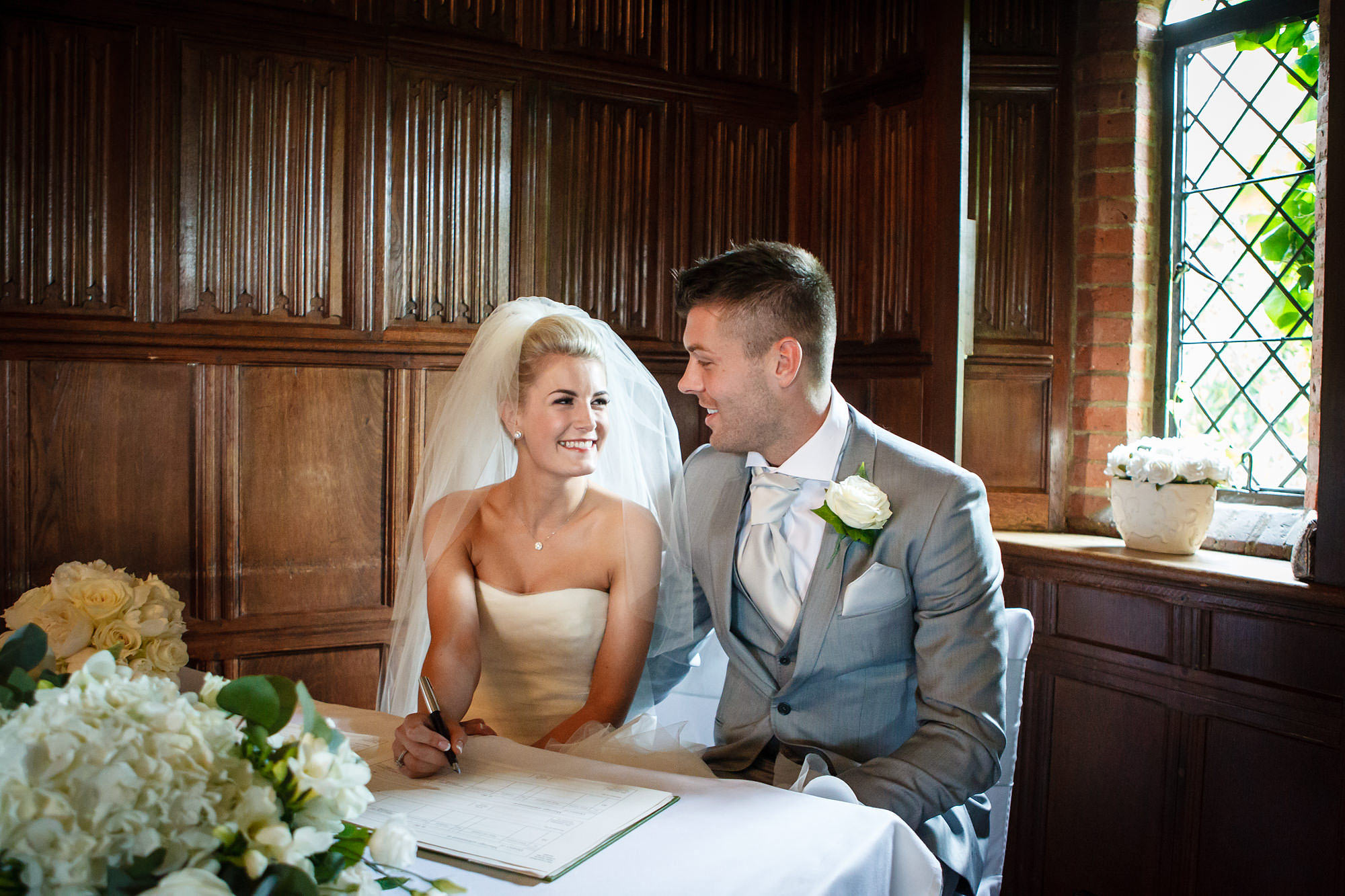 signing the register at Leez Priory