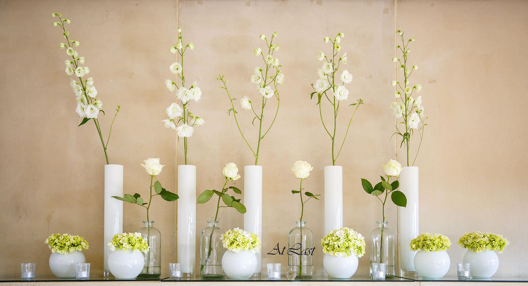 elegant flowers at bromley wedding