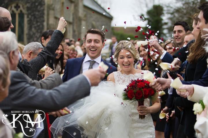 Suffolk wedding photographer confetti shot Bruisyard hall