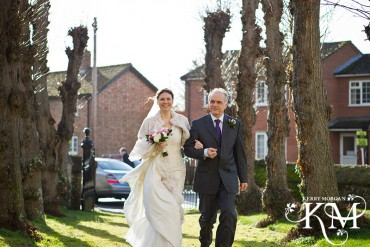 bride arrives at St Nicholas C of E Church St Great Wilbraham
