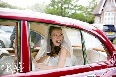 long barn wedding car