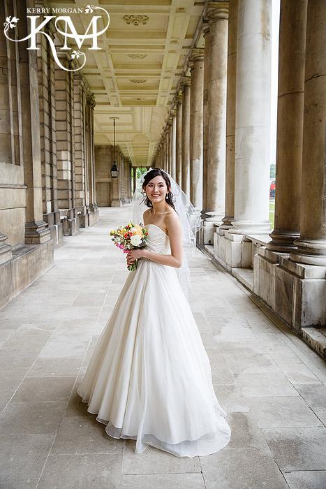 Greenwich wedding photographer bride at greenwich wedding