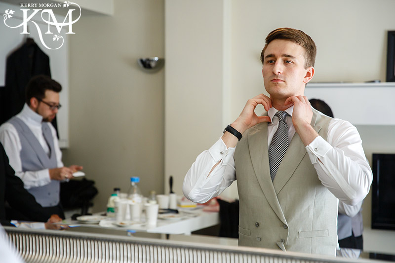 London wedding groom getting ready
