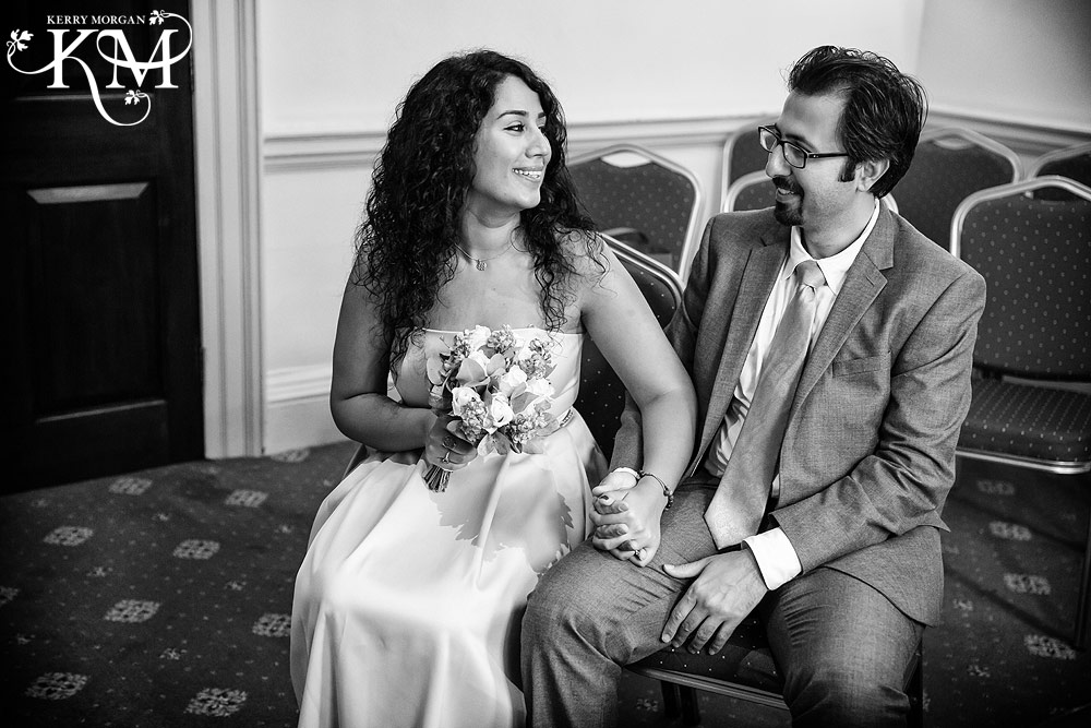Merton Register Office wedding ceremony in black and white