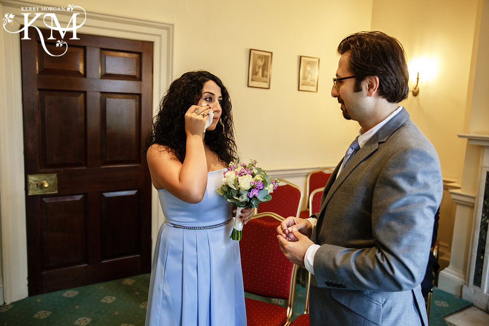 teary bride at Merton Register Office wedding