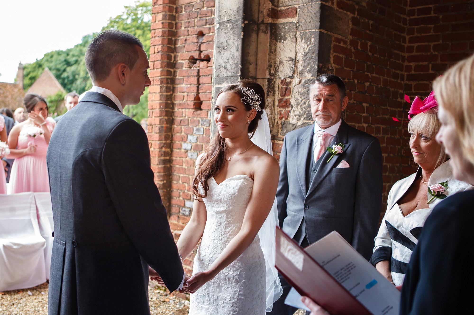 outdoor ceremony at Leez Priory Wedding