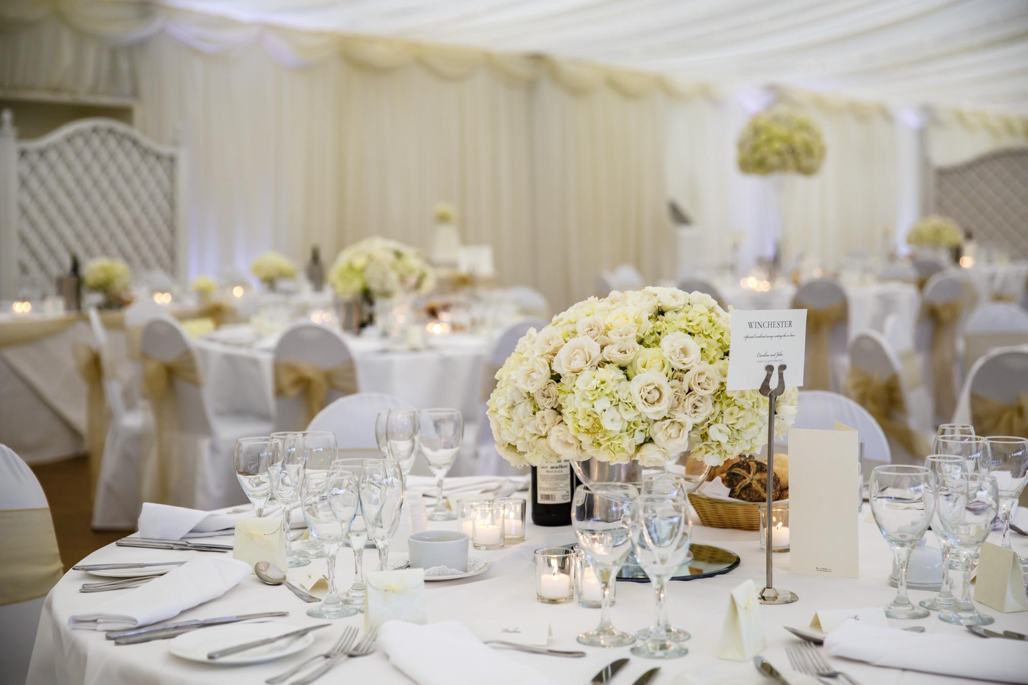 table decorations Parklands Quendon Hall Wedding