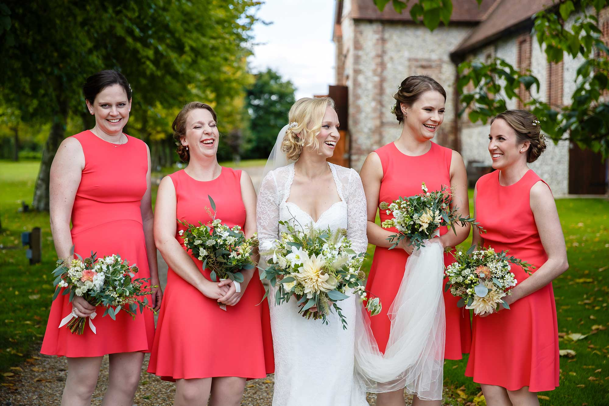 bridesmaids at Tithe Barn Wedding