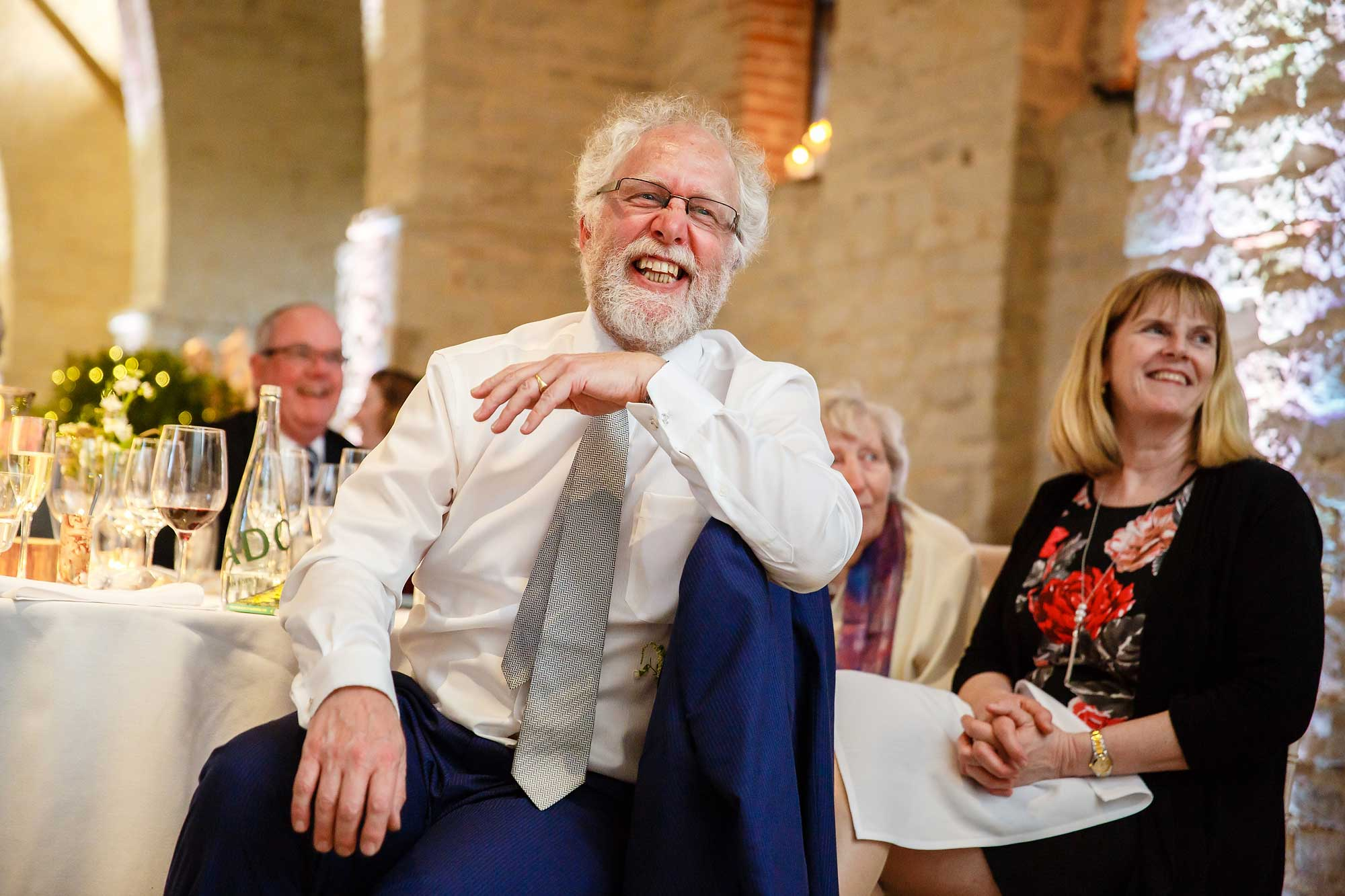 Dad laughing at wedding hampshire