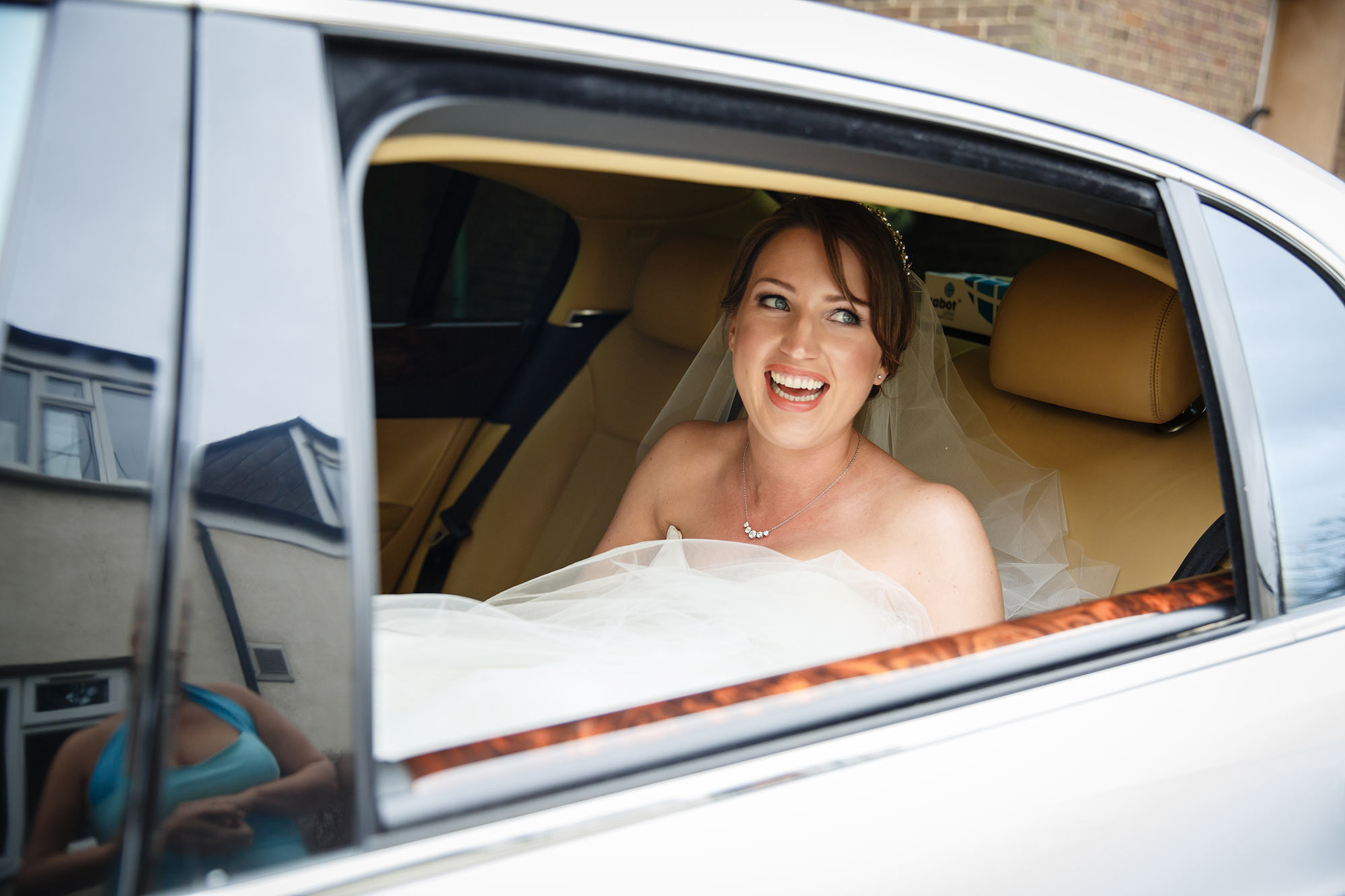 bride arrives in car