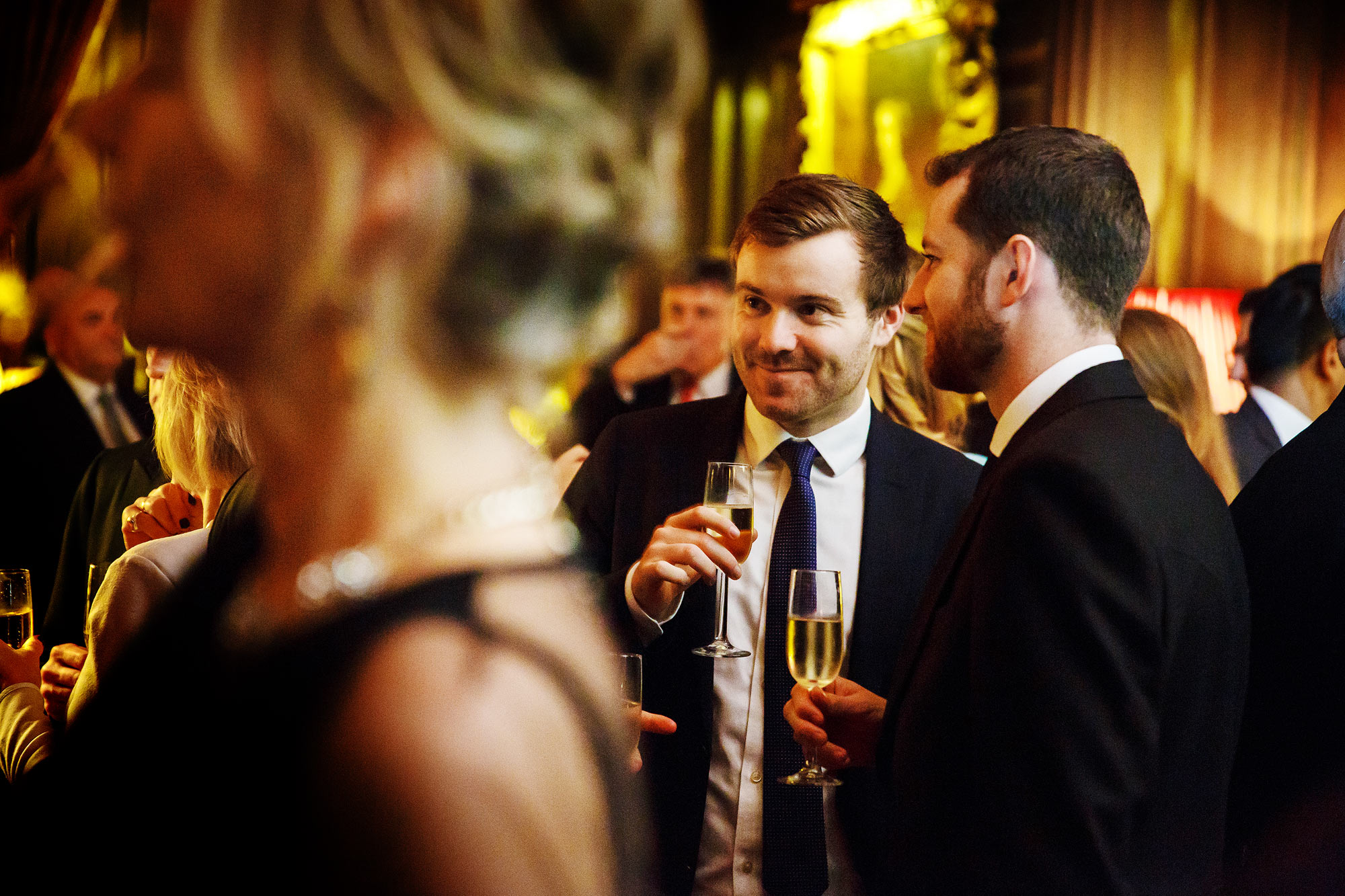 drinks reception at winter wedding Cliveden House
