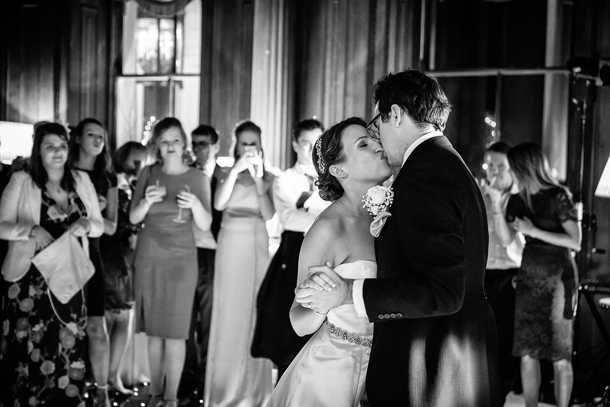 kiss at Cliveden House Wedding