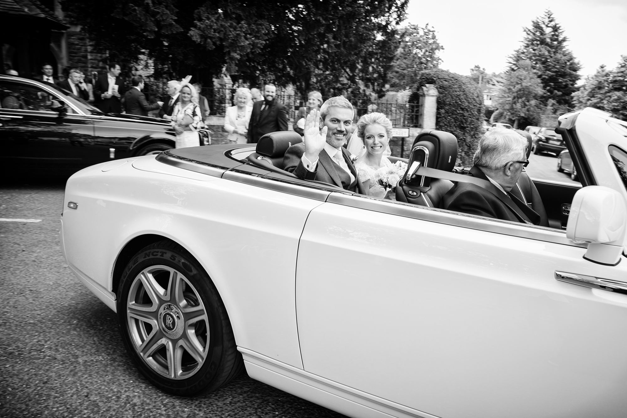 rolls royce wedding car white